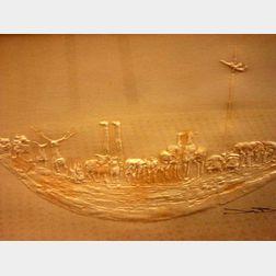 Framed Modern Pressed Paper Work of Noah's Ark