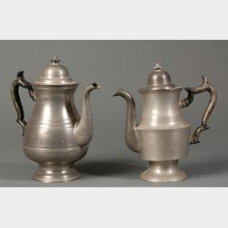 Two Pewter Coffeepots