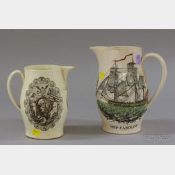 Liverpool Pottery Transfer Decorated Pitcher and a Reproduction Pitcher