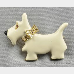 18kt Gold, Enamel, and Gem-set Scottish Terrier Brooch