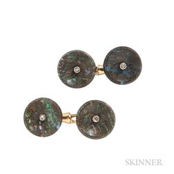Antique Gold and Opal Cuff Links