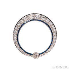 Art Deco Platinum and Diamond Circle Brooch