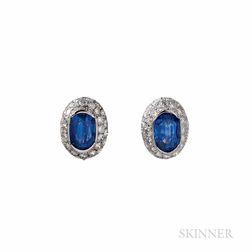 Bulgari Platinum, Sapphire, and Diamond Earrings