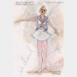 Randy Barceló (Cuban/American, 1946-1994)      Costume Design for Martine van Hamel as a Majorette in Piece d'Occasion