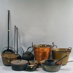 Fourteen Metal Domestic Items