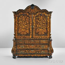 Dutch Marquetry and Fruitwood Armoire