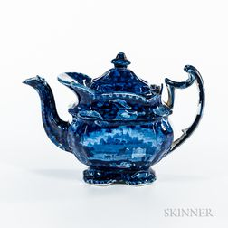 "Staffordshire Historical Blue Transfer-decorated ""Wadsworth Tower"" Teapot"