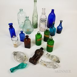 Nineteen Glass Perfumes and Toilette Bottles