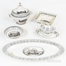 Creil Transfer-decorated Tureen, Sauceboat, and Three Serving Dishes.     Estimate $300-500