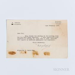 Kipling, Rudyard (1865-1936) Typed Letter Signed, 21 February 1925.