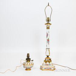 Two Paris Porcelain Lamps