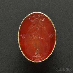 Rare Gold, Carnelian Intaglio, and Enamel Ring, Marie Zimmermann