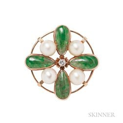 14kt Gold, Jade, and Pearl Brooch