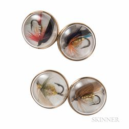 9kt Gold and Fly Fishing Lure Cuff Links