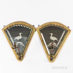 Pair of Fan-shaped Mirrored Single-light Wall Sconces