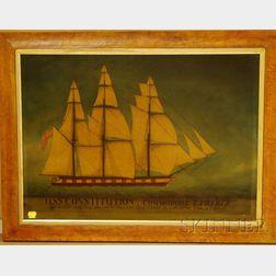 American School, 19th Century U.S.S. Constitution, Commodore E. Preble, Off the Coast of Barbary where with the Brigs ARGUS & SYR...