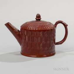 Staffordshire Glazed Redware Teapot and Cover