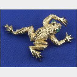 18kt Gold and Emerald Pin