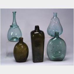 Five Early Blown Glass  Bottles