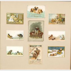 American School, 19th Century    Lot of Nine Chromolithographic Trade Cards Featuring Pugs