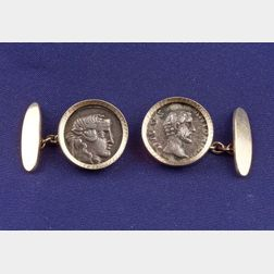 14kt Gold and Silver Coin Cuff Links
