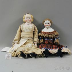 Two Parian Shoulder Head Dolls