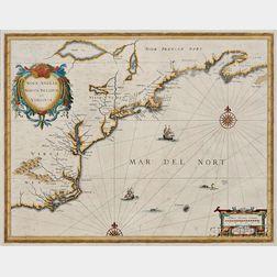 North American Coast, Nova Scotia to Virginia. Johannes Janssonius Nova Anglia, Novum Belgium et Virginia.
