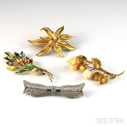 Four Assorted Gold Brooches