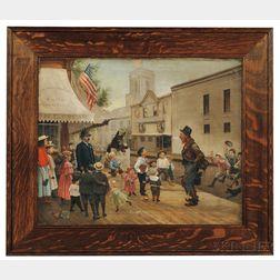 American School, late 19th Century      Hobo and Children Street Scene.