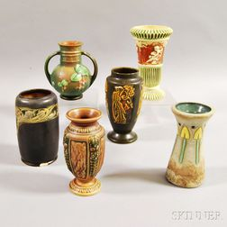 Six Small Roseville Pottery Vases