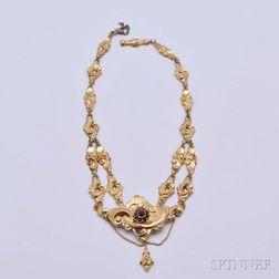 Victorian 14kt Gold and Garnet Necklace