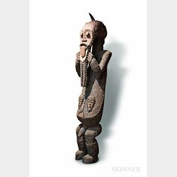 Monumental Polychrome Carved Guardian Figure