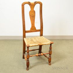 Queen Anne-style Carved Maple Side Chair