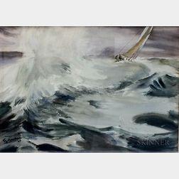 American School, 20th Century      Sailing Yacht in Rough Seas