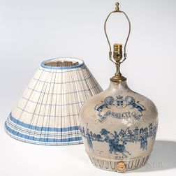 """Cobalt-decorated and Molded """"London Whiskey Club"""" Stoneware Jug"""