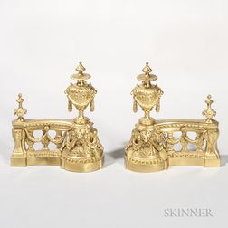 Pair of Gilt-bronze Andirons