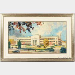 J. Floyd Yewell (American 1885-1963)      Architectural Watercolor Rendering