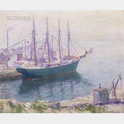 Emile Albert Gruppé (American, 1896-1978)      Schooner at a Pier