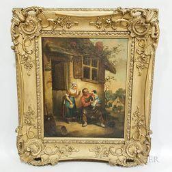 Framed Continental School Oil on Canvas Genre Scene
