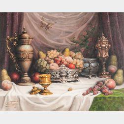 John (Jeno) Friedlinger (Hungarian, b. 1890)      Ornate Tabletop Still Life with Fruit and Butterfly.