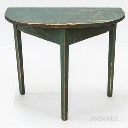 Green-painted Pine Taper-leg Demilune Console Table