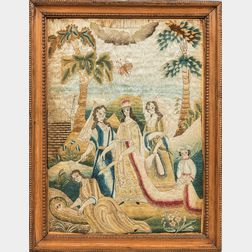 """Early English """"Moses and Jochebed"""" Needlework Picture"""