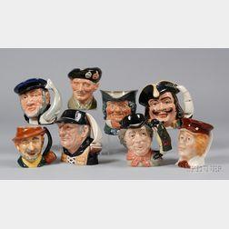 Six Large Royal Doulton Ceramic Character Jugs and Two Other Ceramic Character Jugs