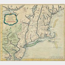 North America, East Coast, Southern Maine to Virginia. Jacques Nicolas Bellin Carte de la Nouvelle Angleterre, New York Pensilvanie, et