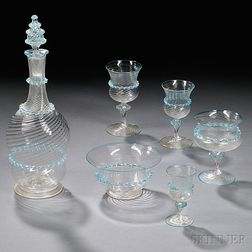 Twenty-two Pieces of Venetian Colorless Glass Tableware