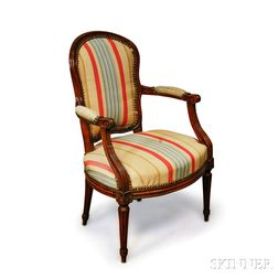 Louis XVI-style Carved Walnut Fauteuil