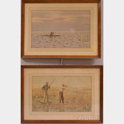 Two Framed Arthur Burdett Frost (American, 1851-1928) Hunting Chromolithographs
