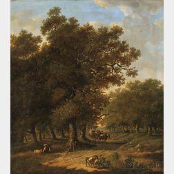Hendrik Barend Koekkoek (Dutch, 1849-1909)      Wooded Landscape with Horse Cart and Livestock
