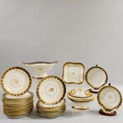 Twenty-six Pieces of Chamberlain's and Spode Gilt Porcelain Tableware