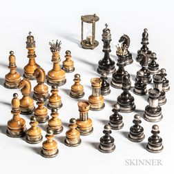 Turned and Carved Wood Silver Metal-mounted Chess Set